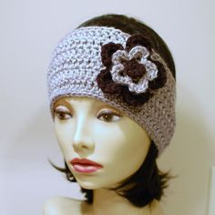(4) Name: 'Crocheting : Ear Warmer with Layered Flowers