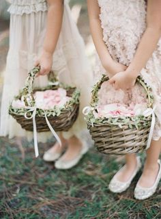 A Romantic Garden-Inspired Wedding at the International Polo Club Palm Beach in Wellington, Florida Greenery Accented Woven Flower Girl Baskets Flower Girl Gifts, Flower Girl Basket, My Flower, Flower Girl Dresses, Garland Wedding, Wedding Decorations, Wedding Bouquets, Wedding Flowers, Flowergirl Flowers