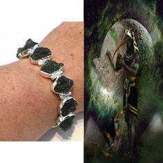 Moldavite Bracelet. Thoth Moldavite Encoded By An Egyptian High Priestess. Downloads/Healings God of Magic/Wisdom. Authenticity Card #1259
