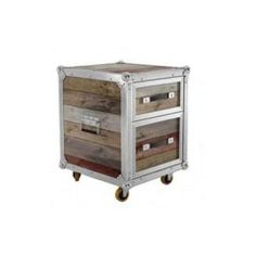 The Roadie 2 drawer chest is not only smokin' because of its metal and reclaimed wood construction. It also has wheels.