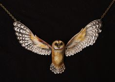 """Barn Owl Necklace""  https://www.etsy.com/shop/MichellePetersenArt"