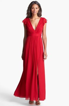 Jill Stuart Dress Short V Neck Red Chiffon Jill Stuart chiffon dress in a