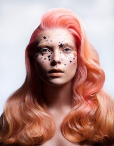 by Hair Color Ideas in Orange Hair, Pink Hair | Fantasy Makeup w/ stars