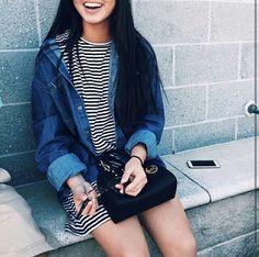 striped t-shirt dress + denim jacket