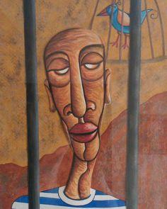 DOS AÑOS Y UN DIA #watercolor #acuarela #illustrations #ilustración #man #hombre #pájaro #bird #barcelona #gasol #art #colours #preso #jail #prisoner #collage