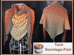 Triangle Shawl SUNSET crochet with 1 BOBBEL Woolly Hugs - Veronika Hug - YouTube