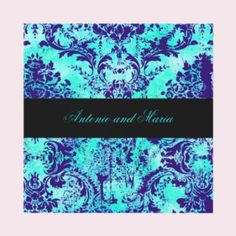 Turquoise, purple, and Black damask invitations Damask Wedding, Purple Wedding, Dream Wedding, Wedding Stuff, Turquoise And Purple, Vintage Turquoise, Aqua, Cute Wedding Ideas, Wedding Inspiration
