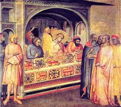 """""""San Eligio en el taller del orfebre"""" (1365)- Taddeo Gaddi (Gotico) (Italia) (1300-1366)."""
