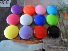 50Pcs Mixed Color Acrylic round Beads flat round by TownletBead