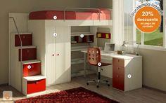 Furniture: (Code bed-marinera-con-escritorio – AGIO … - Home Decor ideas Small Room Bedroom, Small Rooms, Kids Bedroom, Bedroom Decor, Dream Rooms, Dream Bedroom, Chambre Nolan, Loft Bed Plans, Small House Plans