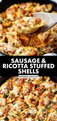 Stuffed Shells With Meat, Stuffed Shells Recipe, Stuffed Pasta Shells, Healthy Stuffed Shells, Recipes With Jumbo Pasta Shells, Italian Stuffed Shells, Pasta With Meat, Stuffed Pasta Recipes, Ricotta Cheese Stuffed Shells