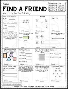 Looking for math review activities for the beginning of the year in 5th grade? They are perfect for assessing what your students remember from 4th grade, and each one is super-engaging and interactive! They include differentiated task cards, two versions of 'Find a Friend,' and multiple differentiated partner practice pages! Tons of fun to start your year off right!