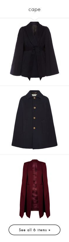 """""""cape"""" by lullilia ❤ liked on Polyvore featuring outerwear, coats, cape, jackets, coats & jackets, navy, navy blue wool coats, shawl cape, wool shawl cape and wool lined coat"""