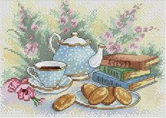 New Modern Sealed Cross Stitch Hand Embroidery Kit Tea Time with Sweets, Food Embroidery, Kitchen Interior Russian Cross Stitch kit Russian Cross Stitch, Mini Cross Stitch, Modern Cross Stitch, Cross Stitch Kits, Cross Stitch Designs, Cross Stitch Patterns, Embroidery Kits, Cross Stitch Embroidery, Muñeca Diy