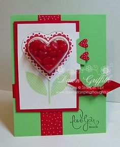 Love the Valentine sweet treat cup card using red hot candies.