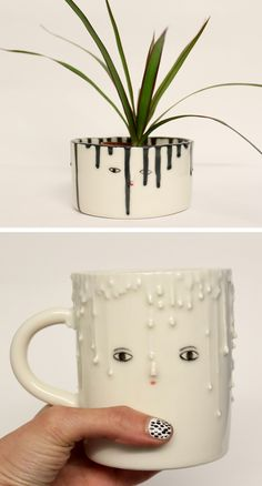 Drip planter by Kinska | drip ceramics | illustrated ceramics | modern planters