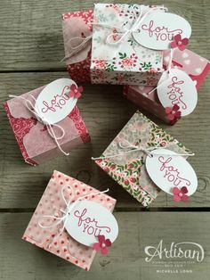 Envelope Punch Board Boxes - SU - Love Blossoms dsp stack by Michelle Long Stampin 365 Envelope Punch Board Projects, Envelope Maker, Boxes And Bows, Craft Fairs, Craft Gifts, Stampin Up, Paper Crafts, Gift Wrapping, Gift Boxes