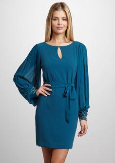 S.L. FASHIONS Beaded Cuff Dress