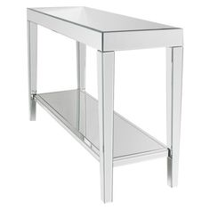 Add a touch of sophistication to your home décor with a mirrored console table. It's a functional addition to any narrow space in your home such as hallway or bathroom. With a large tabletop and storage shelf, this living room table offers enough space to place a lamp, magazines, art pieces and other collectibles. You can coordinate this table with other furniture for a customized look. With a solid MDF composite frame, the 2-shelf console table is sturdy and resists warpin...