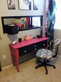 This is what I can do with my side table, and itd be so cheap. Love it..DIY:Side table to makeup table
