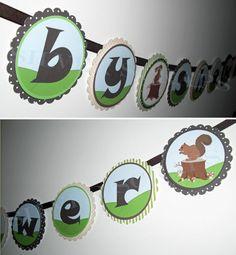 Woodland Forest Animals  Custom Baby Shower Banner by silverscraps