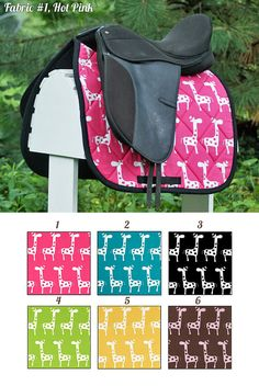 MADE TO ORDER Giraffes Saddle Pad Many Colors by PaddedPonies