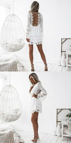 white long sleeves short homecoming dresses, lace criss cross straps short prom dresses, simple formal dresses with sleeves