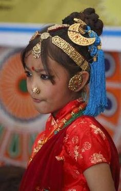 Gurung girl in traditional dress