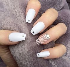 Matte White with crystals and design  Coffin Nails