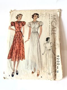 Excited to share this item from my #etsy shop: Vintage 1937 McCall Party Frock Sewing Pattern | Bust 31 Frock Patterns, 1930s Style, Party Frocks, Aging In Place, 1930s Fashion, Print And Cut, Vintage Sewing Patterns, Dressmaking, Etsy Shop