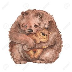 Mama bear and baby bear. Wall Mural ✓ Easy Installation ✓ 365 Days to Return ✓ Browse other patterns from this collection! Bear Watercolor, Watercolor Illustration, Bear Drawing, Photoshop, Working Mother, Wall Murals, Storytelling, Lion Sculpture, Teddy Bear