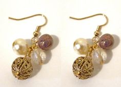 Gold Tone Czech Glass Cluster Dangle Drop Earrings « Holiday Adds