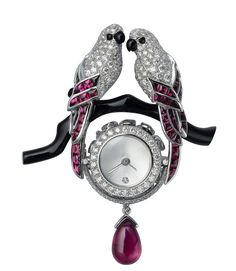 Ruby Jewelry February is for lovebirds! Vintage Cartier diamond, pink ruby and onyx brooch. You are going to wear Cartier Jewelry, Ruby Jewelry, Bird Jewelry, Gems Jewelry, Animal Jewelry, Antique Jewelry, Vintage Jewelry, Jewelry Accessories, Jewelry Design