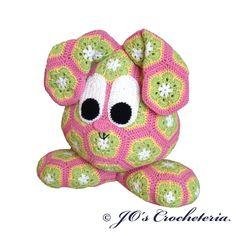 Easter Bunny of African Flowers  Crochet Pattern door JOsCrocheteria, kr40.00