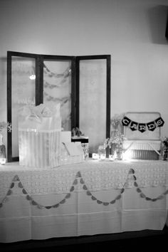 Rustic Missouri Wedding featured on Ruffled by Mint Space Design mintspacedesign. Ivory White, Black And White, Table Garland, Gift Table, Wedding Vintage, Simple Elegance, Event Ideas, Friend Wedding, Plan Your Wedding
