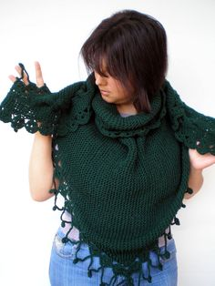 Darck Green Shawl Hand Knit Triangular Shawl Super Soft  WoolWoman Shawl NEW