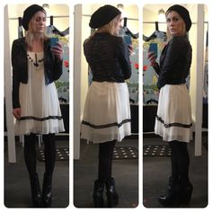 Got a jacket like this...now pair it with a flowy dress, black tights and black leather booties!