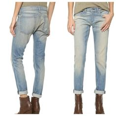 "Rag & Bone Dre skinny boyfriend in greencast 98% cotton, 2% polyurethane. Intentional fading throughout. 30"" inseam & 7 1/2"" rise, 14 1/2"" across waist. A pair of 5-pocket, dark denim skinny jeans gets a rugged, utilitarian edge in an antiqued wash. Sharp whiskering punctuates the front, and artful fading details the front and back. Single-button closure and zip fly. Celebrity favorite.   No trades. 1257 rag & bone Jeans"
