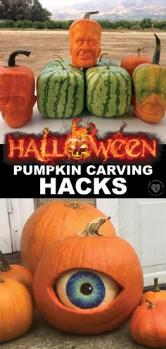 Pumpkin Carving Hacks- Pumpkin carving has taken on a whole new meaning these days. In fact, you don't even have to carve a pumpkin to make it outstanding! Pumpkin Eyes, Cute Pumpkin, Diy Pumpkin, Pumpkin Recipes, Fall Recipes, Halloween Pumpkin Designs, Halloween Pumpkins, Halloween Crafts, Halloween Decorations
