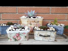 5 ideas to make pots with plastic containers o packaging (english subtitles) Nifty Crafts, New Crafts, Recycled Crafts, Crafts To Make, Diy Flowers, Flower Pots, Decoupage, Recycling Containers, Plastic Containers