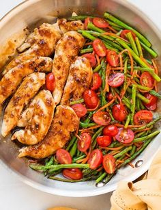 One Pan Balsamic Chicken and Veggies - Cooking Classy Chicken Recipes For Kids, Veggie Recipes, Dinner Recipes, Healthy Recipes, Recipe Chicken, Baked Chicken, Peach Chicken, One Pan Chicken, Orange Chicken