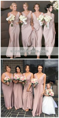 b839d9b7ffb Chiffon Straps Dusty Pink Long Cheap Bridesmaid Dresses Online
