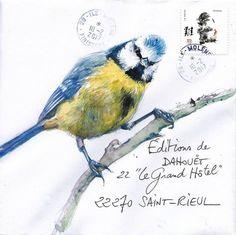 Mail Art by Yann Lesacher, Bretagne Watercolor Bird, Watercolor Paintings, Flor Magnolia, Art Postal, Letter Art, Letters, Fun Mail, Envelope Art, Nature Journal