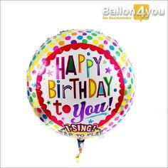 Singender Ballon - Happy Birthday to you     Überraschung garantiert! Ein leichter Klapps genügt und der bunte Geburtstagsballon singt ein Ständchen a cappella. Das Beste daran: Mehr als 100 mal sorgt dieser somit für gute Laune beim Geburtstagskind und allen weiteren Partygästen. Happy Birthday....!
