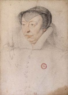 1560 Sketch/portrait study of Catherine de Médicis by François Clouet.  Her blue eyes, graying hair and double chin are not evident in the later painting.