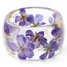 Baby Breath Bangle Purple, made with genuine pressed flowers encased in a USDA approved bio-based resin. By Lissa Liggett. Purple Love, All Things Purple, Shades Of Purple, Purple Flowers, Resin Jewelry, Jewelry Crafts, Jewlery, Resin Bracelet, Bracelets