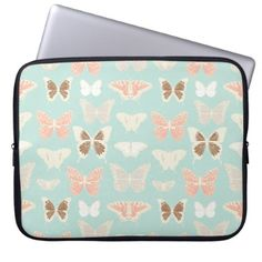 Pretty Butterflies Pattern Computer Sleeve - floral style flower flowers stylish diy personalize