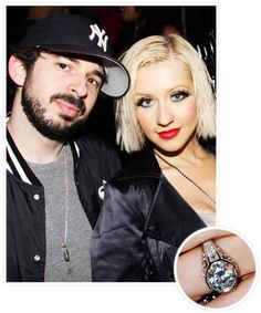 Christina Aguilera Engagement Ring Value 7850000 Approximately Five Carats Total Weight Round Center Diamond Bezel Set In A Cathedral Semi Mo
