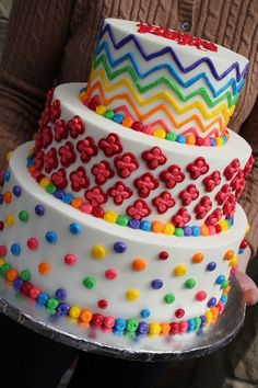 Colorful Multi-Patterned Birthday Cake