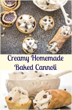 Creamy Homemade Baked Cannoli, a delicious Italian Dessert Recipe, with a creamy Ricotta, chocolate chip filling. This dessert recipe is the best! Brownie Desserts, Oreo Dessert, Mini Desserts, Coconut Dessert, Italian Desserts, Just Desserts, Delicious Desserts, Yummy Food, Italian Pastries